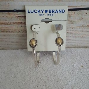 New Lucky Brand Two Tone Pave Hoop Earrings